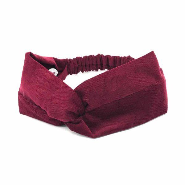 Le Coq en Pap' - Bandeau turban rouge bordeaux uni en velours