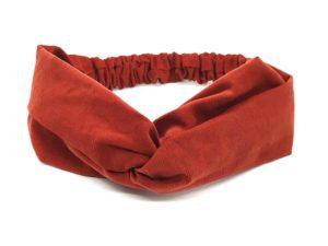 Le Coq en Pap' - Bandeau turban rouge brique uni en velours