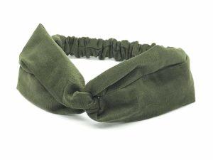 Le Coq en Pap' - Bandeau turban vert kaki uni en velours
