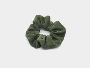 Le Coq en Pap' - Chouchou vert kaki uni en velours