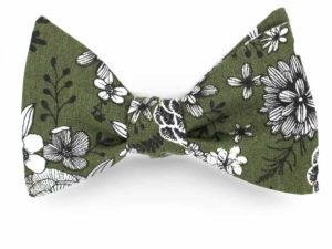 Le Coq en Pap' - Noeud papillon fleuri vert eucalyptus dahlia