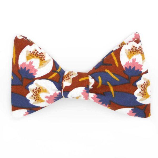 Le Coq en Pap' - Noeud papillon fleuri bleu et rouille crocus