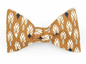 Le Coq en Pap' - Noeud papillon graphique beige camel plume apache