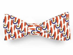 Le Coq en Pap' - Noeud papillon graphique orange et bleu apache